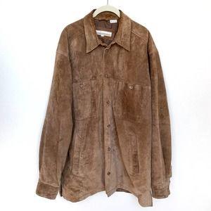Perry Ellis Genuine Suede Jacket Brown L